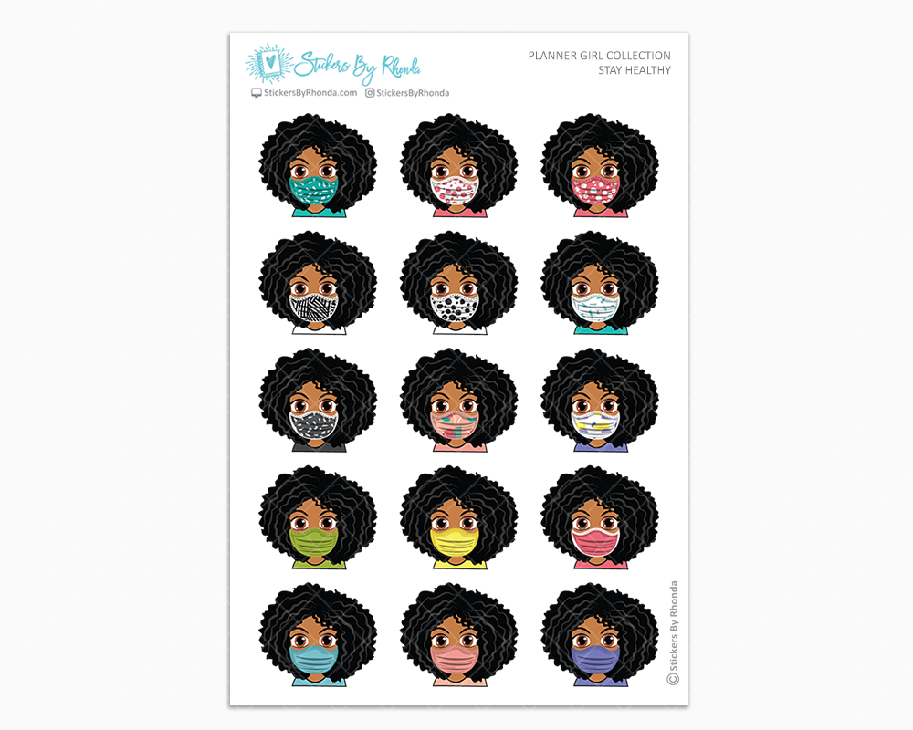 Ebony -  Stay Healthy - Planner Girl Stickers
