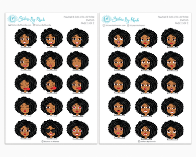 Ebony - Planner Girl Emojis - Emotion Stickers - Planner Girl Collection