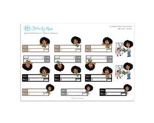 Ebony - Bill Due Boxes Planner Stickers