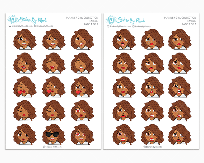Mia - Planner Girl Emojis - Emotion Stickers - Planner Girl Collection