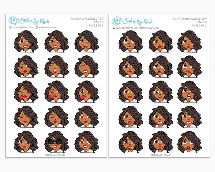 Tanya - Planner Girl Emojis - Emotion Stickers - Planner Girl Collection