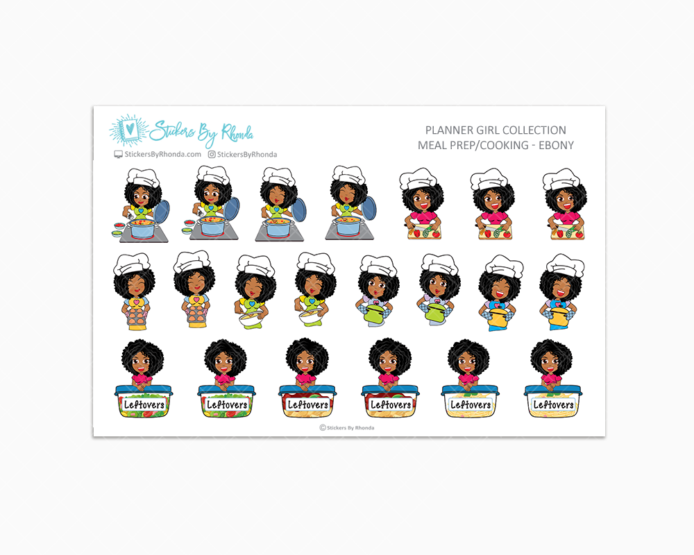 Meal Prep/Cooking Planner Stickers - Ebony