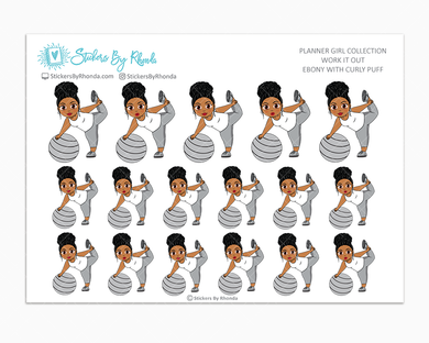Ebony With Curly Puff - Work It Out - Fitness Planner Stickers - Exercise Planner Stickers