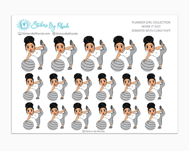 Jennifer With Curly Puff - Work It Out - Fitness Planner Stickers - Exercise Planner Stickers