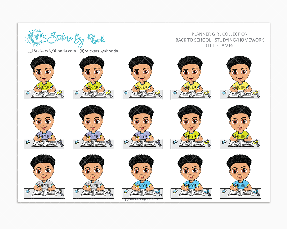 Little James With Curly Fade - Homework Study  - Back To School Stickers - Boy Stickers