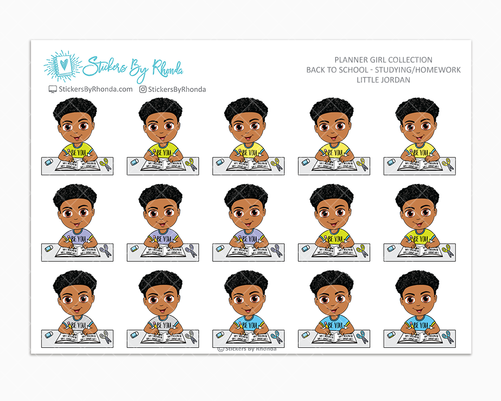 Little Jordan With Curly Fade - Homework Study  - Back To School Stickers - Boy Stickers