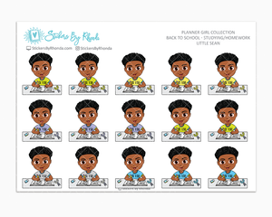 Little Sean With Curly Fade - Homework Study  - Back To School Stickers - Boy Stickers
