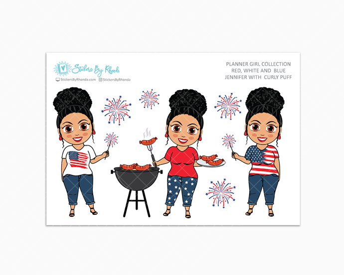Jennifer With Curly Puff - Red, White & Blue Glossy Stickers - Holiday Stickers - Planner Girl Collection - Planner Stickers