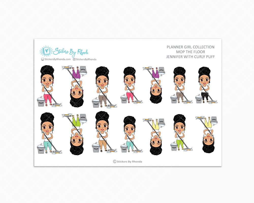 Jennifer With Curly Puff - Mop The Floor - Cleaning Stickers - Planner Stickers