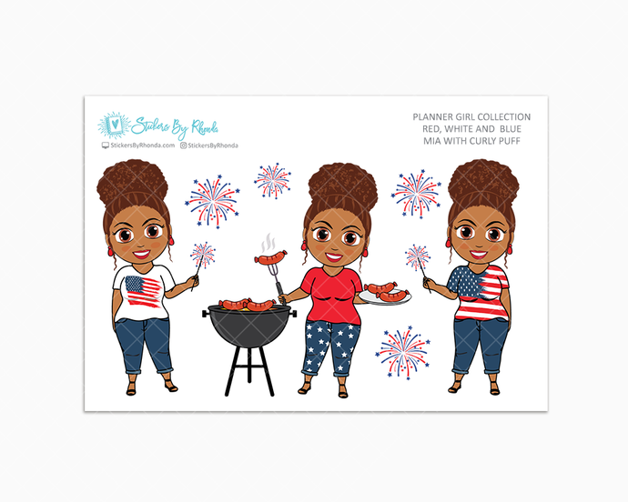 Mia With Curly Puff - Red, White & Blue Glossy Stickers - Holiday Stickers - Planner Girl Collection - Planner Stickers