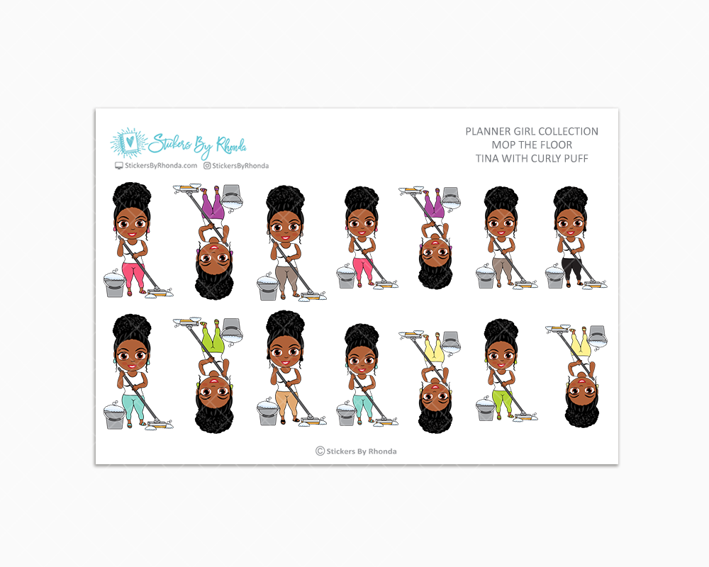 Tina With Curly Puff - Mop The Floor - Cleaning Stickers - Planner Stickers