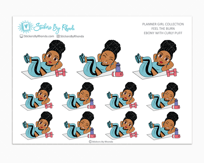 Ebony With Curly Puff - Feel The Burn - Fitness Planner Stickers - Exercise Planner Stickers