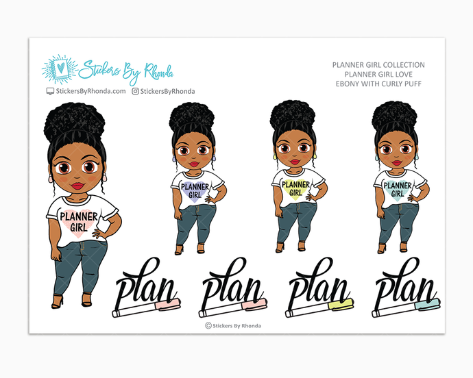 Ebony With Curly Puff - Planner Girl Love - Limited Edition - Planner Girl Stickers