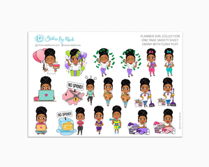 Ebony With Curly Puff - Variety Sticker Sheet - Planner Stickers - Planner Girl Collection