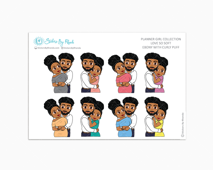 Ebony With Curly Puff - Love So Soft - Planner Stickers