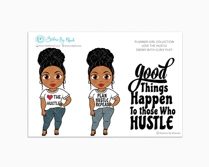 Ebony With Curly Puff - Love The Hustle - Limited Edition - Planner Girl Stickers