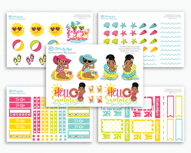 Ebony With Curly Puff - Hello Summer Matte Planner Stickers - Planner Girl Collection