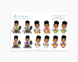 Ebony With Curly Puff - Meal Prep/Cooking Planner Stickers