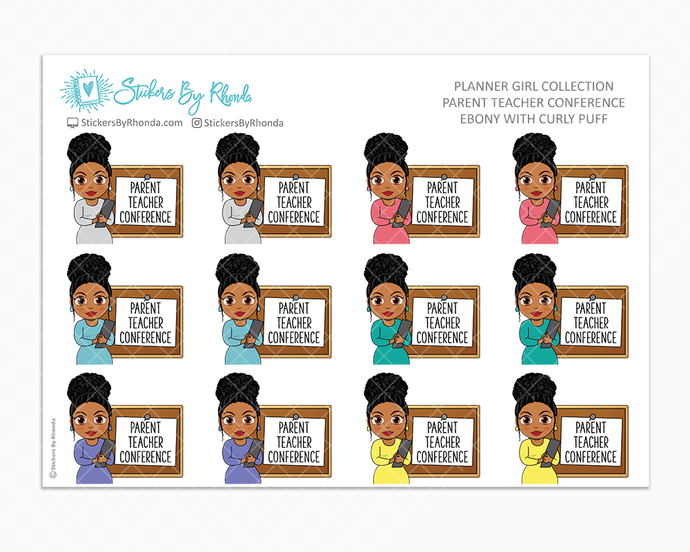 Ebony With Curly Puff - Parent Teacher Conference - School Stickers