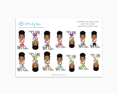 Ebony With Curly Puff - Mop The Floor - Cleaning Stickers - Planner Stickers