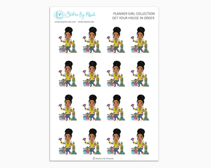 Ebony With Curly Puff - Get Your House In Order - Planner Girls Only - Cleaning Stickers