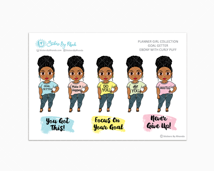 Ebony With Curly Puff - Goal Getter - Limited Edition - Planner Girl Stickers