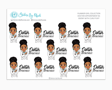 Ebony With Curly Puff - Doctor Appointment #1 - Medical Planner Stickers