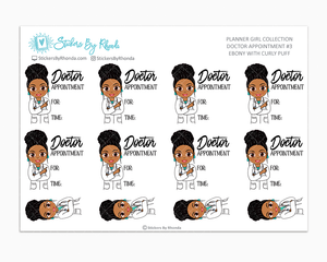 Ebony With Curly Puff - Doctor Appointment #3 - Medical Planner Stickers