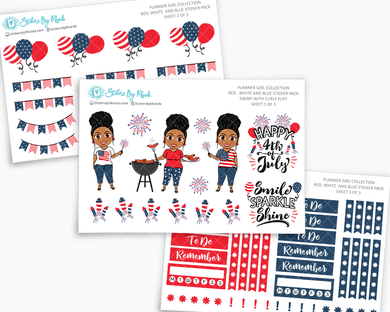 Ebony With Curly Puff - Red, White & Blue Matte Planner Stickers - Planner Girl Collection - Plan Outside The Box Sticker Pack