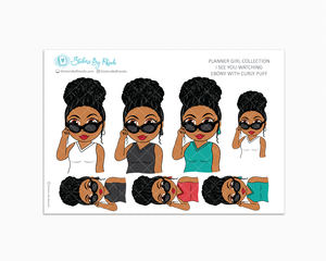 Ebony With Curly Puff - I See You Watching -  Limited Edition - Planner Girl Collection