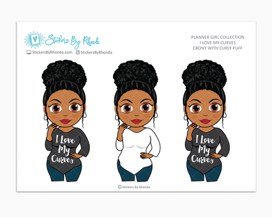 Ebony With Curly Puff - I Love My Curves - Limited Edition - Planner Girl Collection