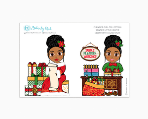 Ebony With Curly Puff - Santa's Little Helper - Planner Girl Collection - Limited Edition - Christmas Stickers