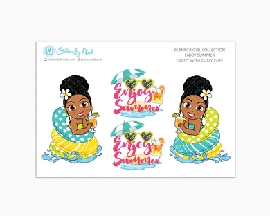 Ebony With Curly Puff - Enjoy Summer Glossy Stickers - Limited Edition - Planner Girl Collection - Planner Stickers
