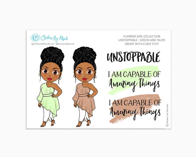Ebony With Curly Puff - Unstoppable - Green & Taupe - Limited Edition - Quote Stickers - Planner Girl Collection - Planner Stickers