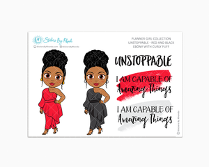 Ebony With Curly Puff - Unstoppable - Red & Black - Limited Edition - Quote Stickers - Planner Girl Collection - Planner Stickers