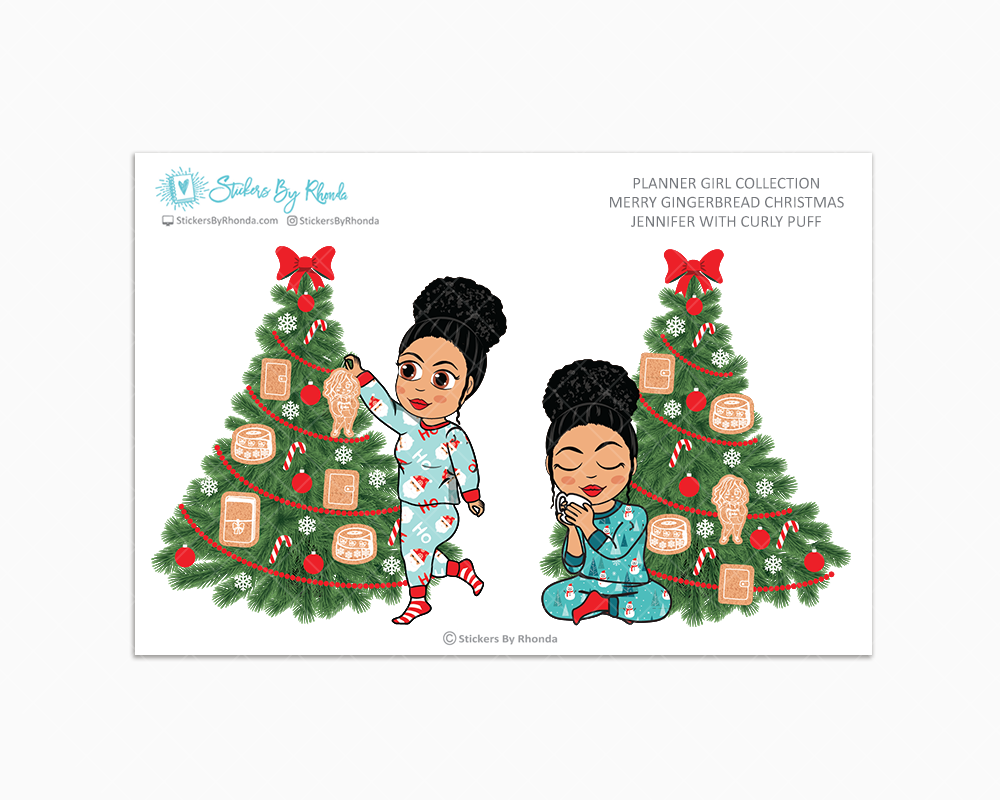Jennifer With Curly Puff - Merry Gingerbread Christmas - Planner Girl Collection - Limited Edition - Christmas Stickers