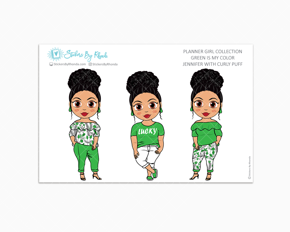 Jennifer With Curly Puff - Green Is My Color - Limited Edition - Planner Stickers