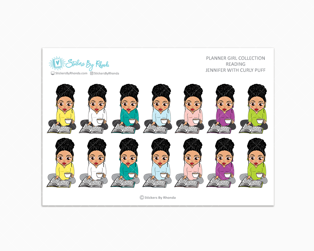 Jennifer With Curly Puff - Reading Planner Stickers - Me Time Planner Stickers