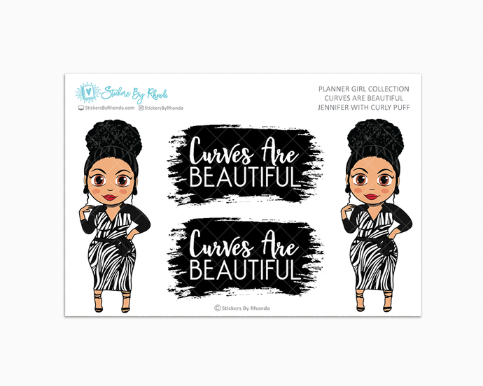 Jennifer With Curly Puff -  Limited Edition - Curves Are Beautiful - Planner Girl Collection