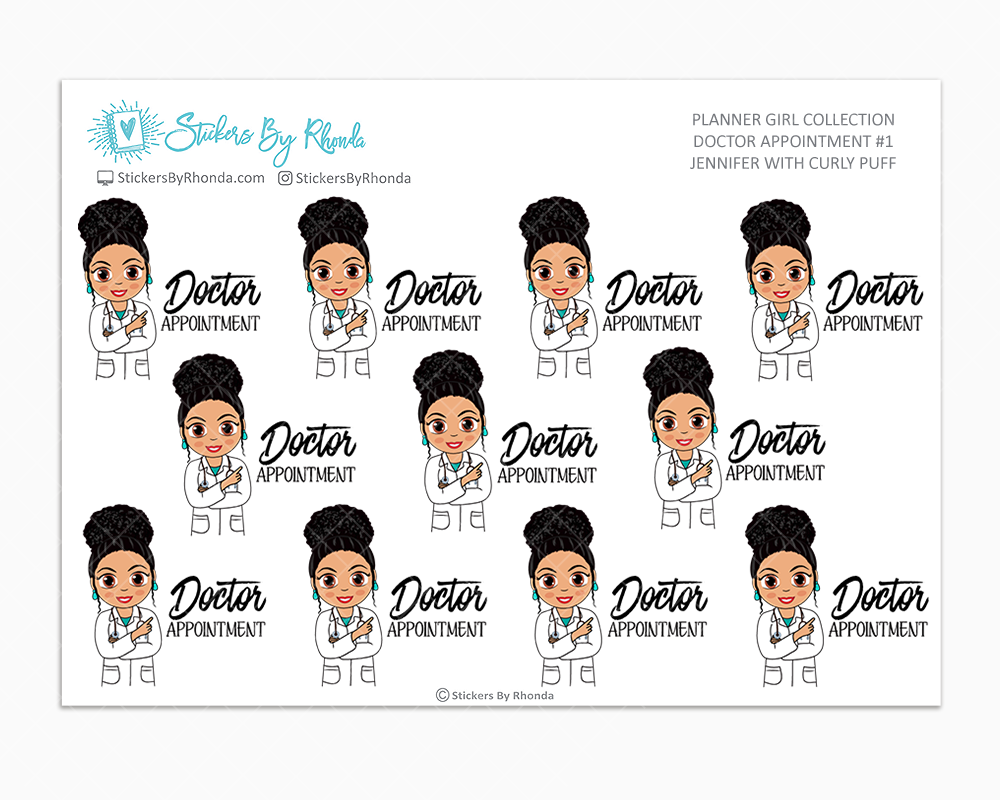 Jennifer With Curly Puff - Doctor Appointment #1 - Medical Planner Stickers