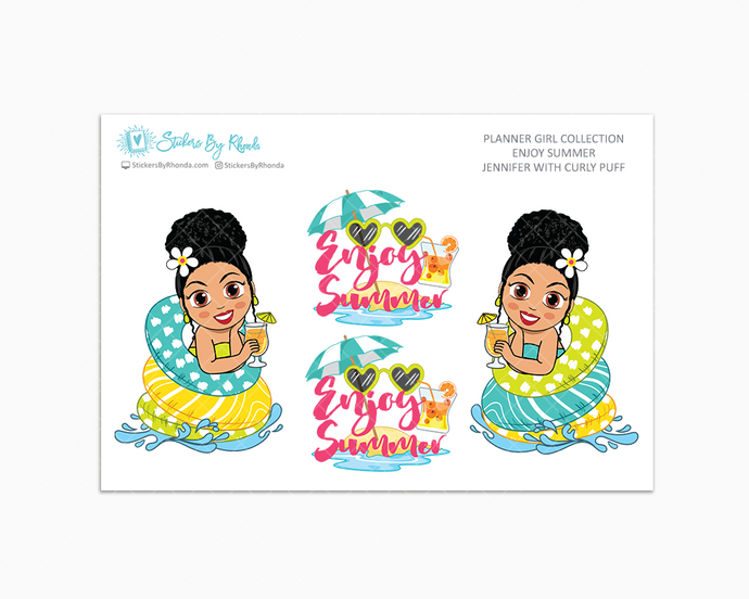 Jennifer With Curly Puff - Enjoy Summer Glossy Stickers - Limited Edition - Planner Girl Collection - Planner Stickers