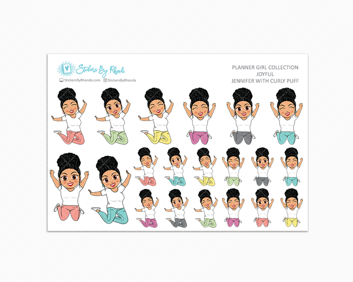 Jennifer With Curly Puff - Joyful Planner Stickers