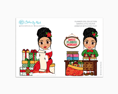 Jennifer With Curly Puff - Santa's Little Helper - Planner Girl Collection - Limited Edition - Christmas Stickers