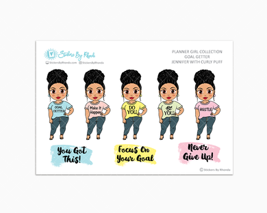 Jennifer With Curly Puff - Goal Getter - Limited Edition - Planner Girl Stickers