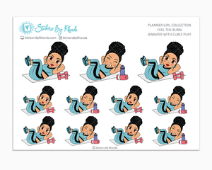 Jennifer With Curly Puff - Feel The Burn - Fitness Planner Stickers - Exercise Planner Stickers