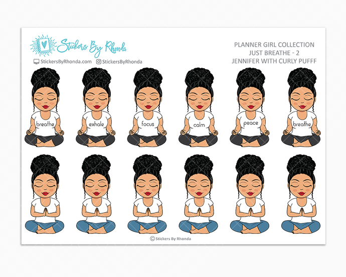 Jennifer With Curly Puff - Just Breathe 2 - Planner Stickers