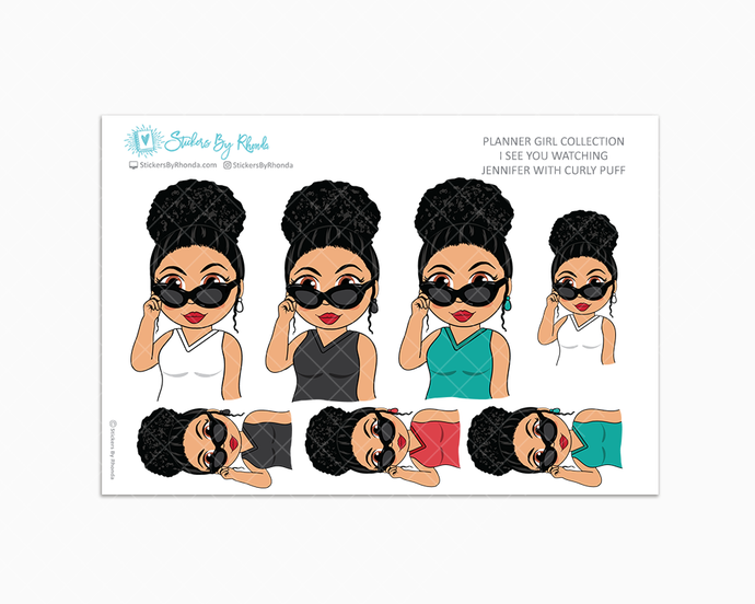 Jennifer With Curly Puff - I See You Watching -  Limited Edition - Planner Girl Collection