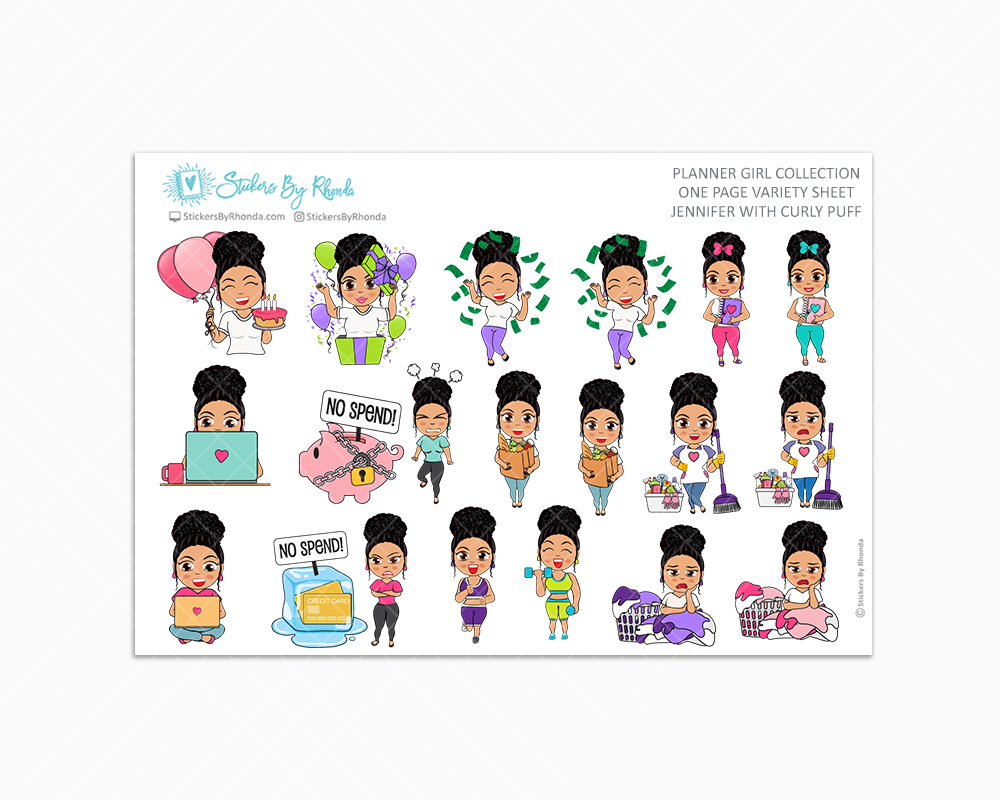Jennifer With Curly Puff - Variety Sticker Sheet - Planner Stickers - Planner Girl Collection
