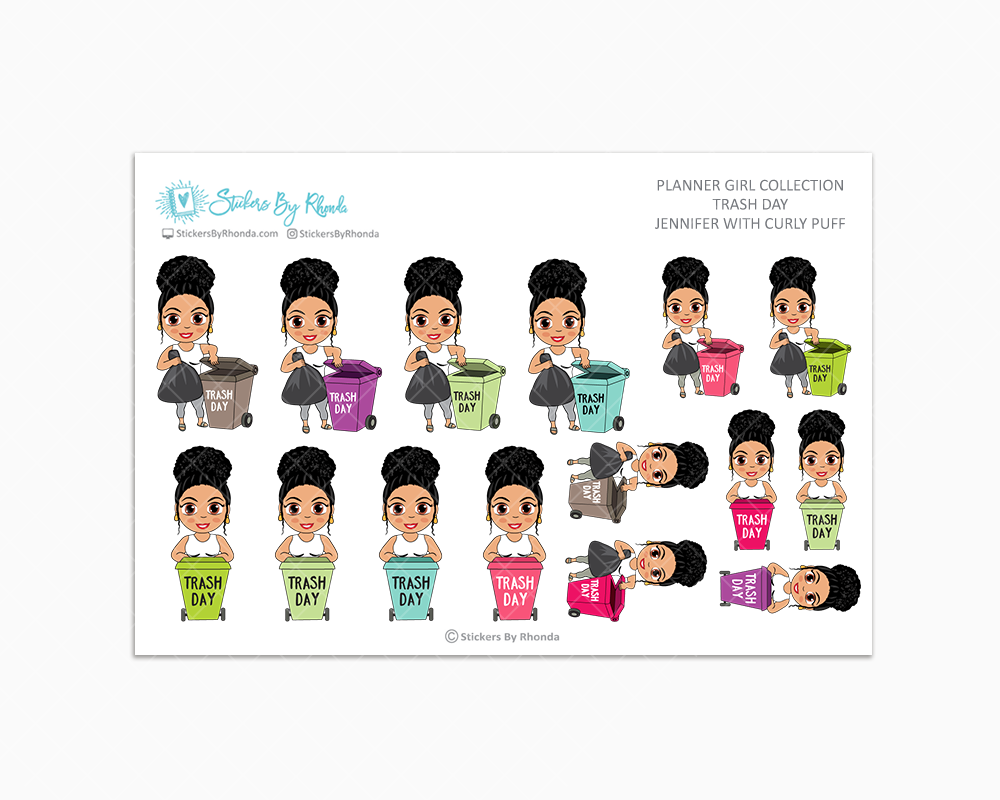 Jennifer With Curly Puff - Trash Day  - Take Out The Trash - Planner Stickers