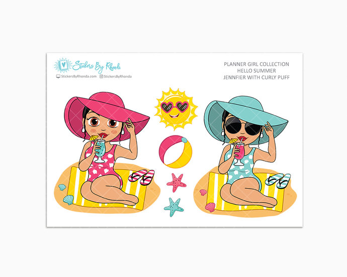 Jennifer With Curly Puff - Hello Summer Glossy Stickers - Limited Edition - Planner Girl Collection - Planner Stickers